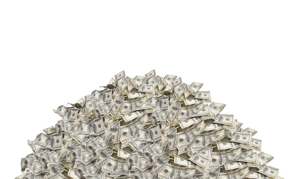 Pile with american hundred dollar bills isolated on white backgr