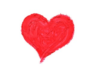 Hand painted red Heart isolated on white as symbol of love, Valentine Day.