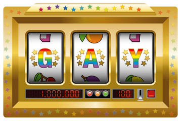 Gay slot machine - as a symbol for a lucky chance to be gay.
