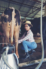 attractive female farmers milkmaid, milking cows on farm