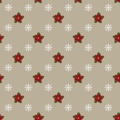 Poinsettia and snowflakes on gray background. Seamless wallpaper