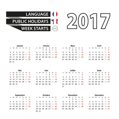 Calendar 2017 on French language. With Public Holidays for France in year 2017. Week starts from Monday. Simple Calendar. Vector Illustration.