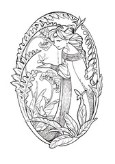 Art sketch of fairy lady with butterflies and flowers. Ink illustration isolated on white background. Coloring book page with elf girl in boho style.