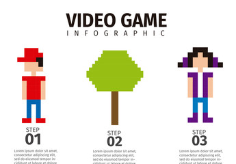Gender-Based Video Game Data Infographic with Pixelated Pictogram Icons 2