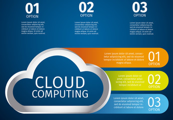 Horizontal Tab Cloud Storage Infographic with Cloud Illustration Element