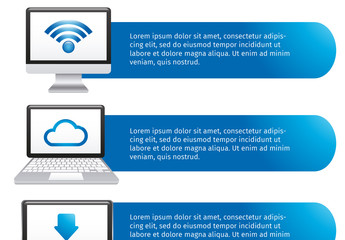 Horizontal Tab Cloud Storage Infographic with Large Icons