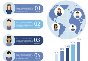 Global Social Network Data Infographic with Avatar Icons and Globe Illustration