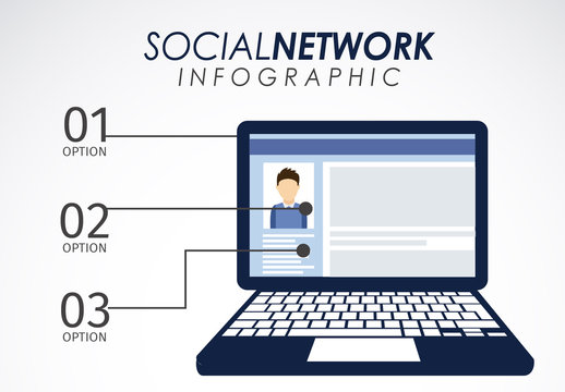 Social Network Data Infographic with Laptop Illustration Element 1