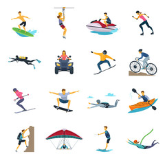 Extreme Sport Activities Flat Icons Collection