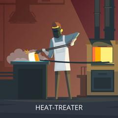 Blacksmith At Work Retro Cartoon Poster