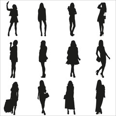 Vector silhouettes of the young girls