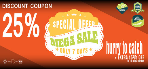 Vector illustration of 25% discount coupon for promotion sale with labels.