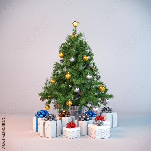 Dekorierter christbaum weihnachtsbaum und geschenken photo libre de droits sur la banque d - Dekorierter weihnachtsbaum ...