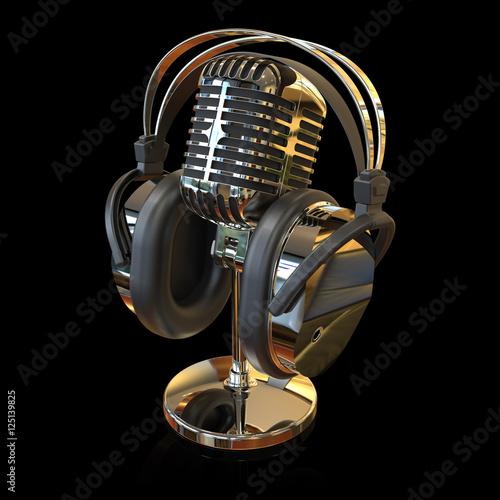 mikrofon mit kopfh rer stock photo and royalty free. Black Bedroom Furniture Sets. Home Design Ideas