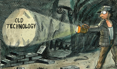 Color illustration showing an explorer in a cave discovering 'old technology'.