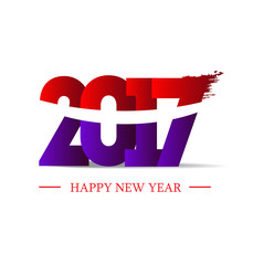 Abstract poster. New year 2017 in white background.