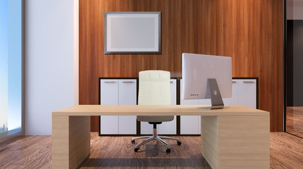 The Conceptual offices. Office array. 3d rendering.