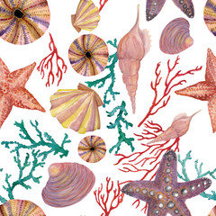 Watercolor painting sea pattern with seashells, starfish,red and blue corals. Seamless nautical background.