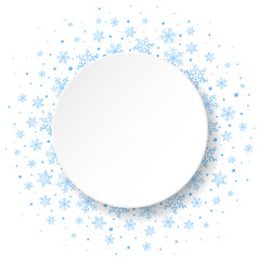 White round banner on beautiful winter background with light blue snowflakes. Vector illustration.