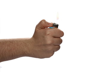 man hand holding a lighter isolated on white