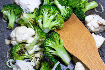 Green broccoli in a frying pan. Homemade food.Cooking process