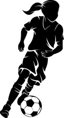 Highlighted silhouette of a girl dribbling a soccer ball.