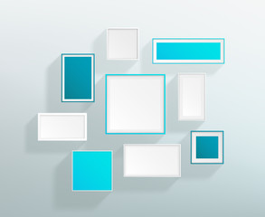 Vector Blank Blue White Realistic Frames On A Wall Design