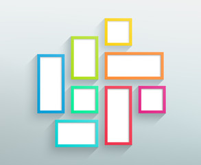 Vector Blank Colour Frames On A Wall Design