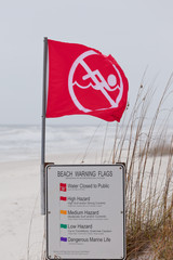 Water closed to public red flag flying on beach