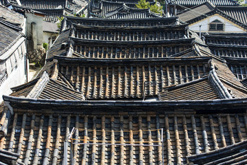 Top view of the old Asian village with traditional architecture in Seoul - South Korea