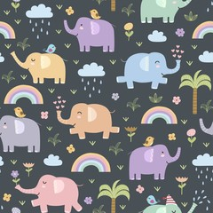 Funny elephants seamless pattern