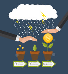 Helping Hand. Money Tree, Financial Growth Flat Concept Vector I