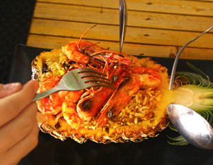 Freshly prepared pineapple fried rice seafood