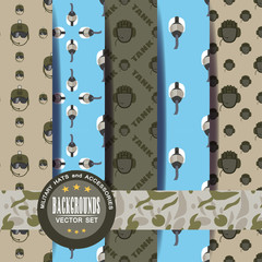 Seamless patterns vector set of military helmets with shadow, label and stripe.