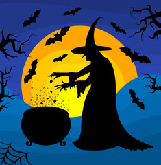Happy Halloween poster with a silhouette of witch.