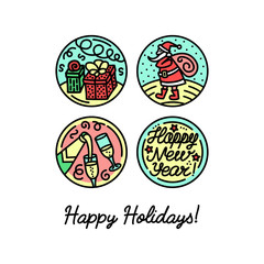 Set of flat line icons on the winter holidays.