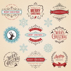 Ornate typographic labels and badges set with Merry Christmas, Happy New Year and Holidays wishes.