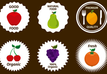 9 Fruit Icons on Scalloped White Circles with Editable Text
