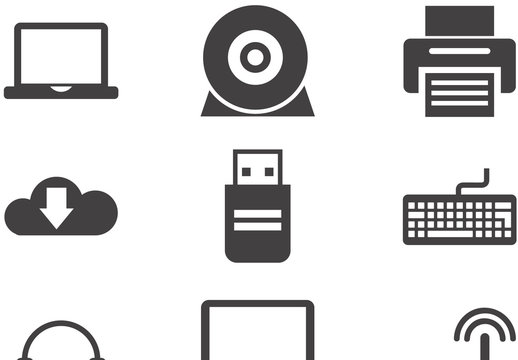 12 Grayscale Web, Media, and Tech Gadget Icons