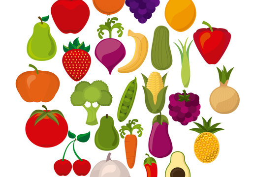 Fruit and Vegetable Icon Patterened Circle