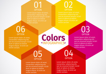 Bright Warm Tone Overlapping Hexagonal Tiles Infographic