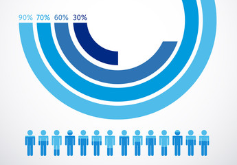 Cool Tone Ombre Circular Bar Chart Infographic with Pictograms