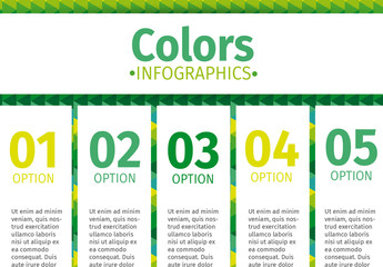 Vertical Tabs on Green Patterned Background Infographic