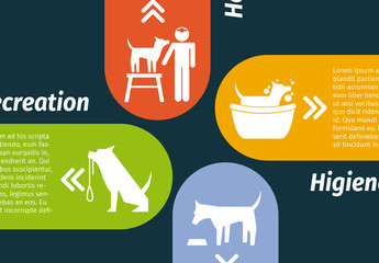 4 Tab Dog and Pet Care Infographic with Silhouette Icons