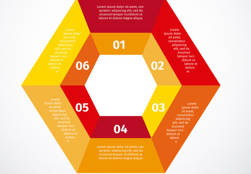 2-Tiered Red-to-Yellow Hexagonal Infographic