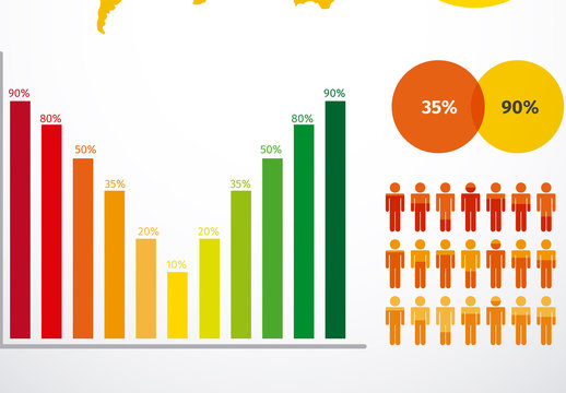 Bright, Multicolored Global Data Infographic with Pictograms