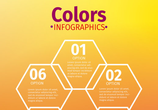 White Outline Hexagonal Tiles on Warm Gradient Background Infographic
