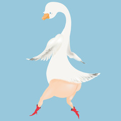 Dancing Goose in red boots and crown