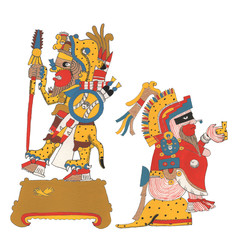 Mixtec warriors, two figures isolated back to back. Painted illustration.