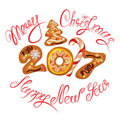 Hand written calligraphic text Merry Christmas and Happy New Yea